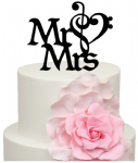 Mr & Mrs Music Note Cake Acrylic Topper